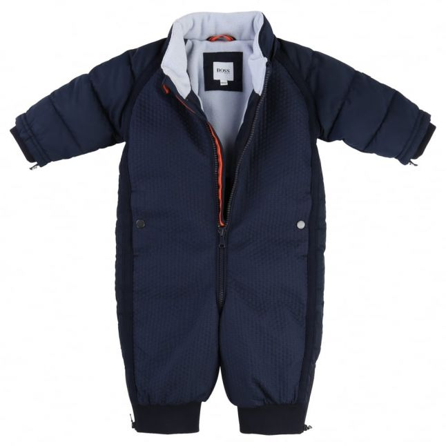 Baby Navy Hooded Textured Snowsuit