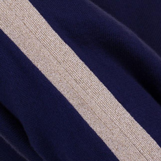 Womens True Navy Metallic Trim Knit