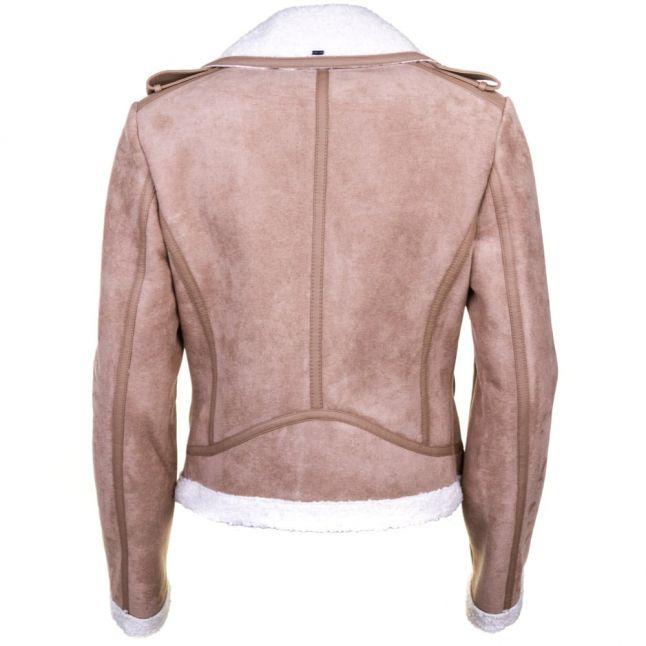 Womens Camel Faux Shearling Jacket