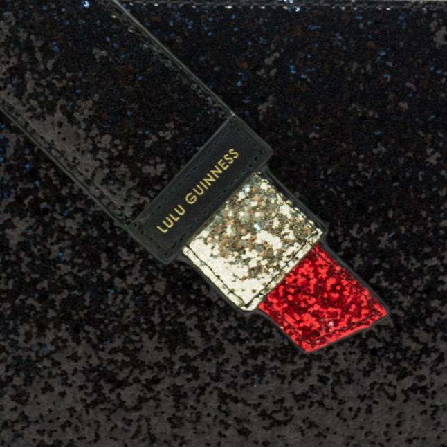 Womens Black & Red Glitter Grace Pouch