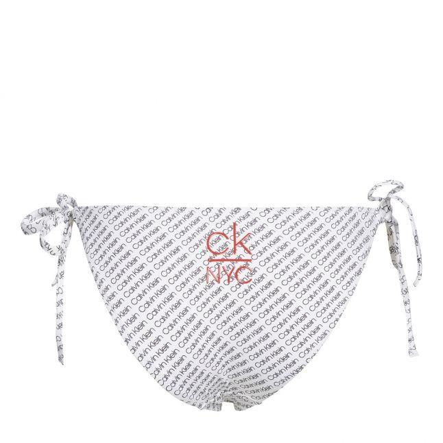 Womens White NYC Logo Tie Side Bikini Pants