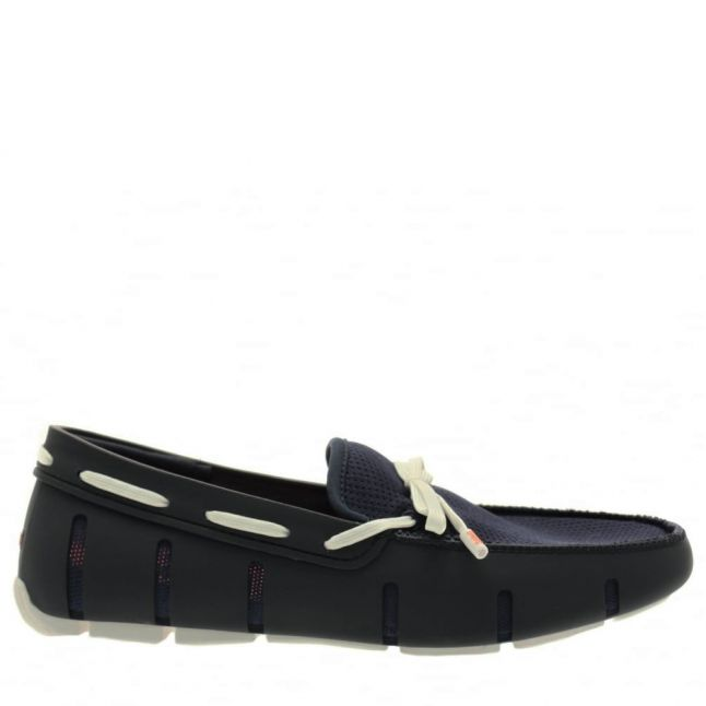 Mens Navy & White Lace Loafers