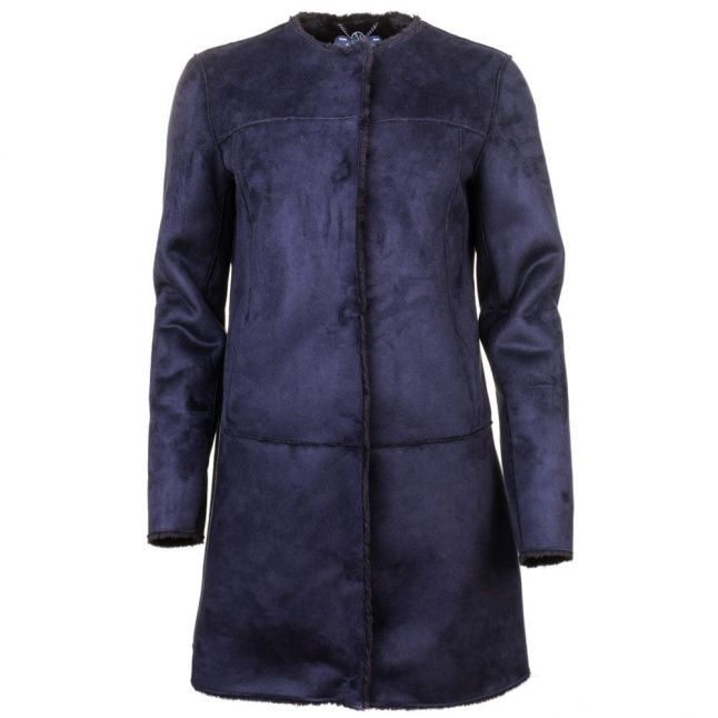 Womens Blue Faux Suede Coat