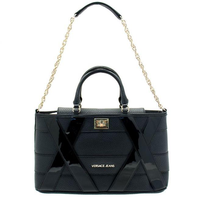 Womens Black Patent Panel Tote Bag