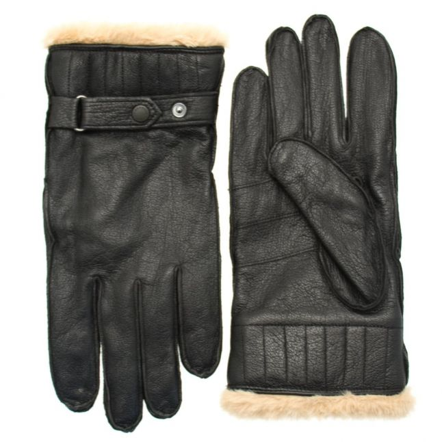 Mens Black Leather Utility Gloves