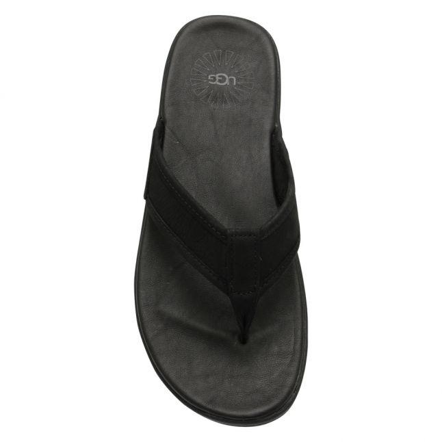 Mens Black Seaside Leather Flip Flops