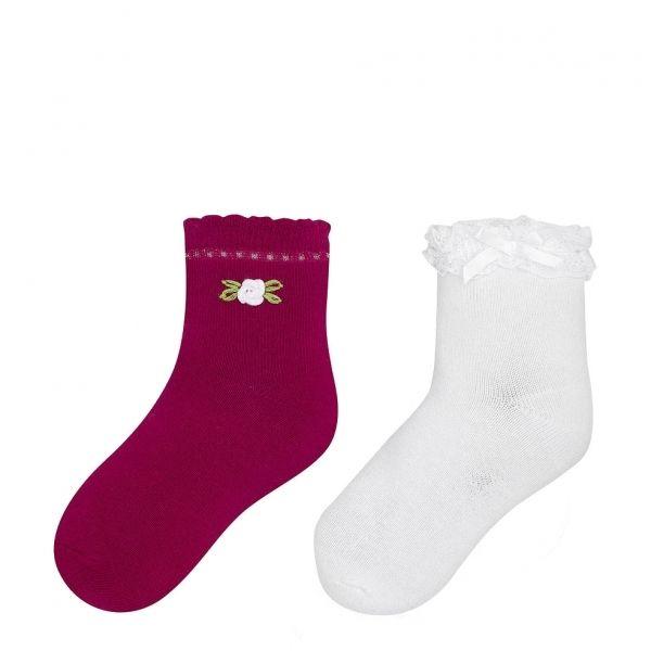 Girls Strawberry Frill & Flower 2 Pack Socks