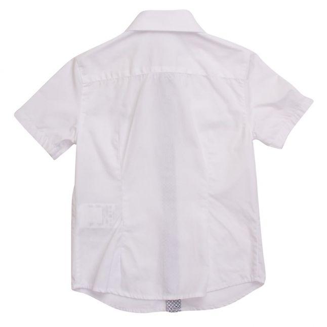 Boys White Branded S/s Shirt