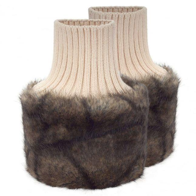 Womens Elk Carton Faux Fur Arm Cuffs
