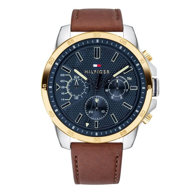 Mens Rose Gold/Brown/Navy Decker Leather Watch
