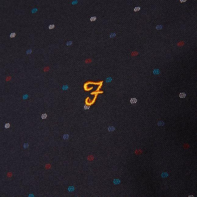 Mens True Navy Garfield Slim Fit L/s Shirt