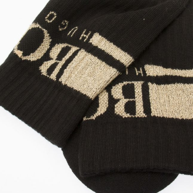 Mens Black/Gold Rib Logo Sports Socks