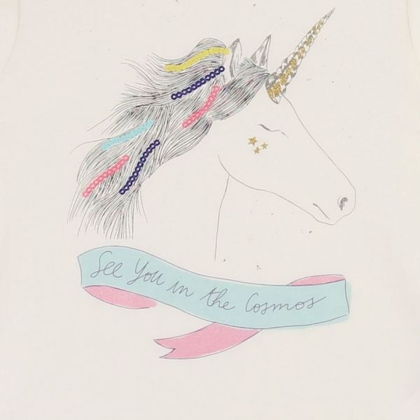 Girls Ivory Unicorn Cosmos L/s T Shirt