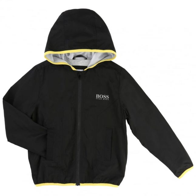 Boys Black Casual Branded Hooded Jacket