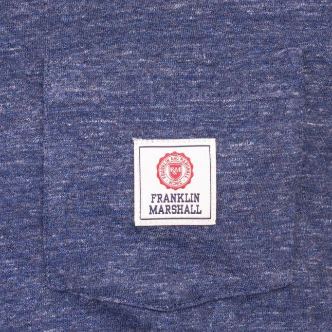 Mens Blue Melange Logo Pocket L/s Tee Shirt