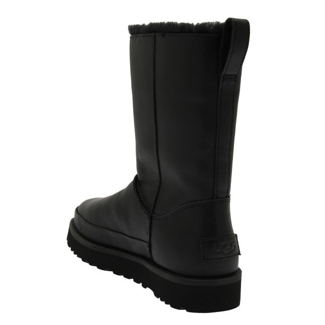 Womens Black Classic Zip Short Leather Boots