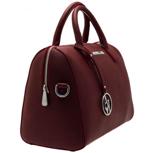 Womens Bordeaux Faux Saffiano Bowler Bag