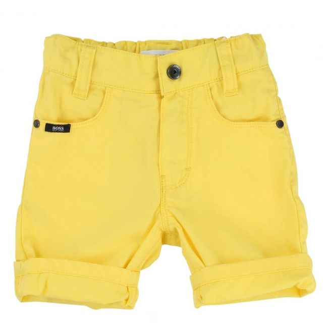 Baby White & Yellow Polo Shirt & Shorts Set
