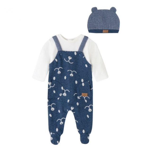 Baby Indigo Dungarees & Hat Set