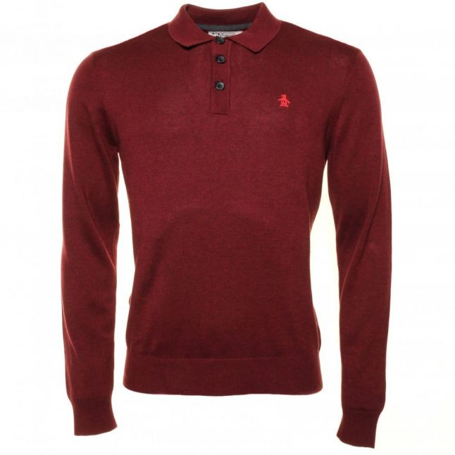 Mens Pomegranate Badense Knitted L/s Polo Shirt