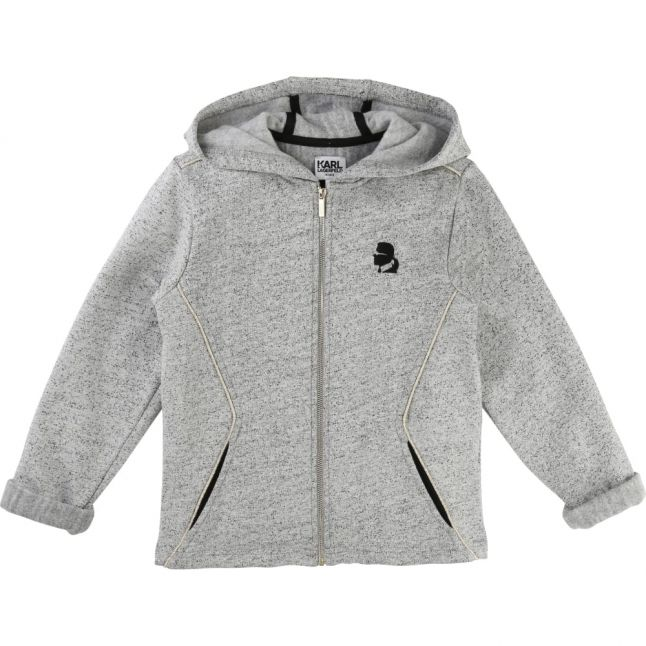 Girls Grey Logo Hooded Zip Sweat Top