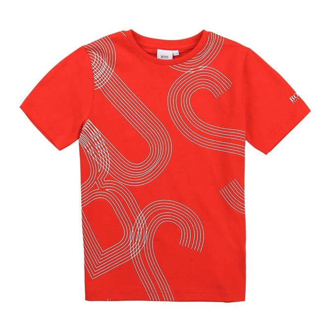 Boys Bright Red All Over Logo S/s T Shirt
