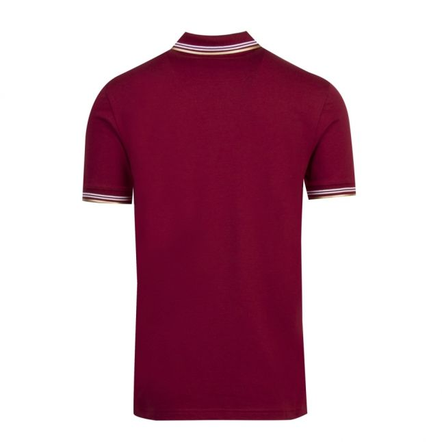 Athleisure Mens Burgundy/Gold Paul Curved Logo Slim Fit S/s Polo Shirt