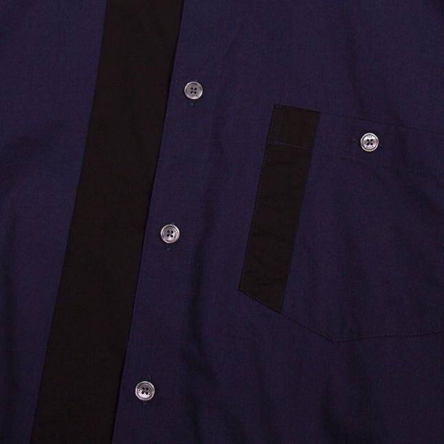Mens Dark Navy Plantin Panelled L/s Shirt