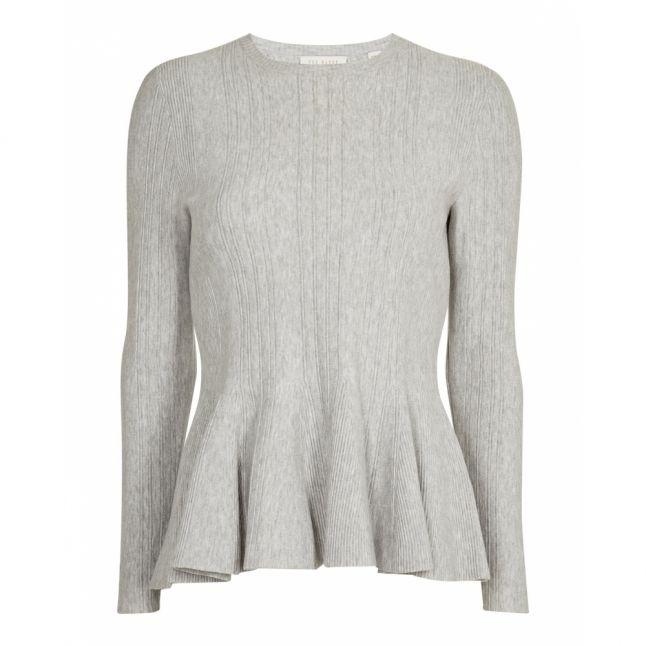 Womens Light Grey Beffi Peplum Knit