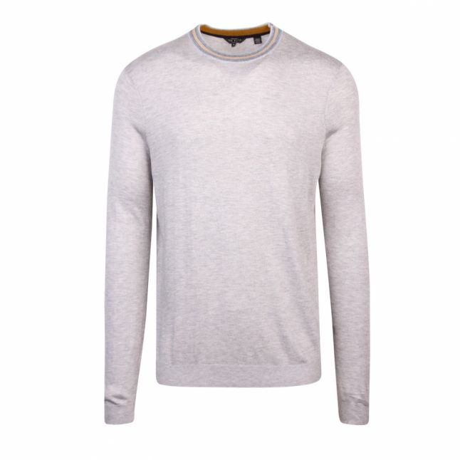 Mens Grey Marl Mailais Crew Neck Knitted Jumper