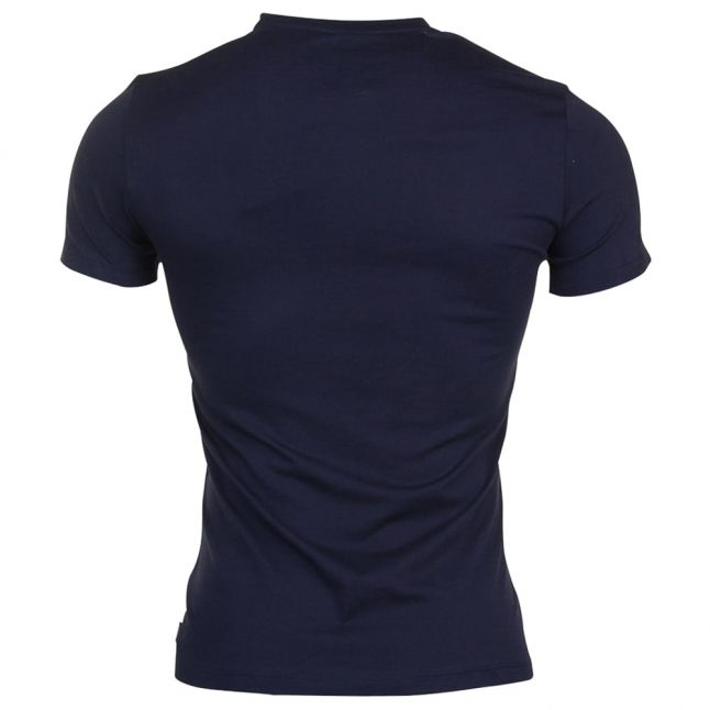 Mens Blue Navy Shadow Effect Logo S/s Tee Shirt