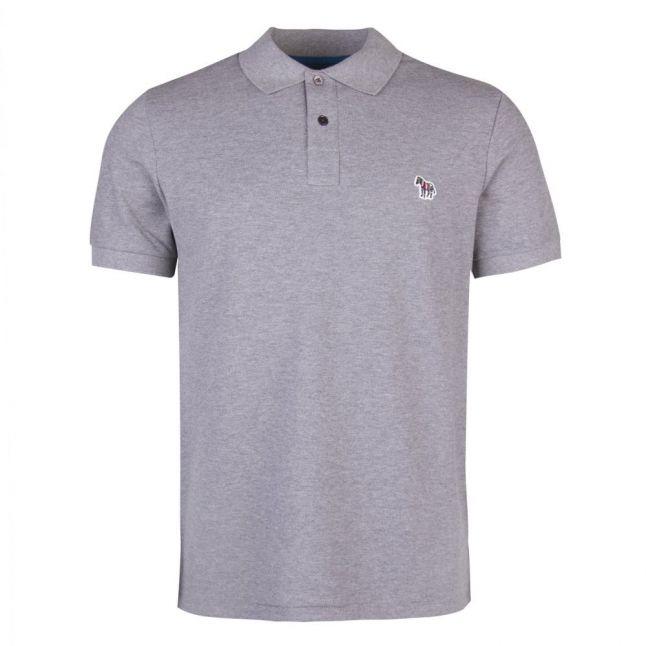 Mens Grey Melange Classic Regular Fit S/s Polo Shirt