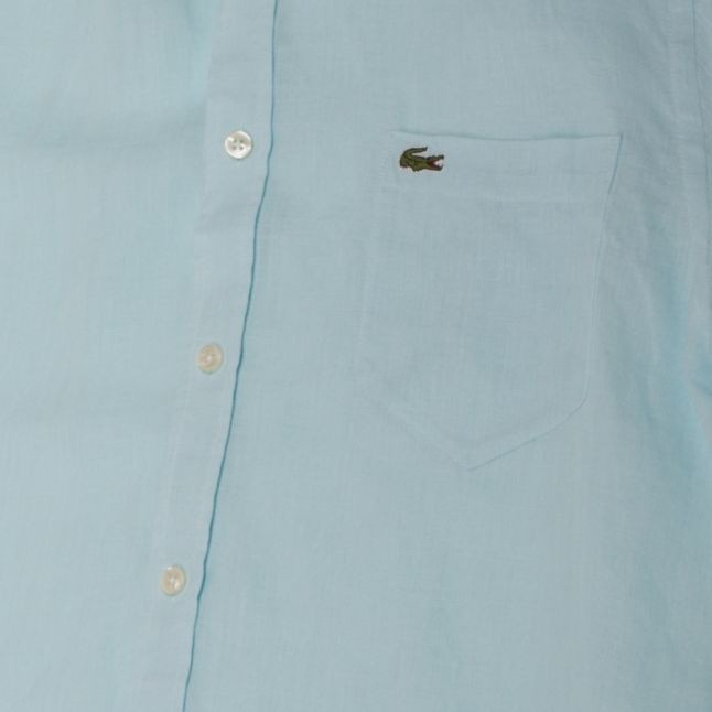 Mens Turquoise Linen Regular Fit S/s Shirt