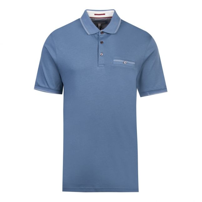 Mens Light Blue Boomie Tipped S/s Polo Shirt