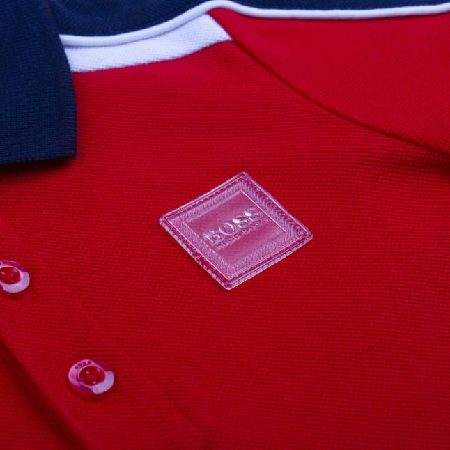 Toddler Bright Red Contrast Panel S/s Polo Shirt