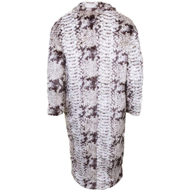 Womens Grey & Blac Serpent Faux Fur Coat