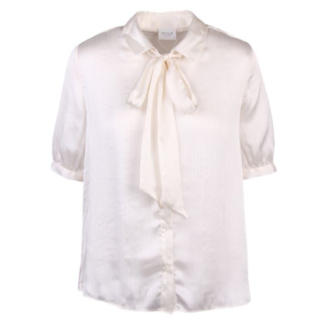 Womens White Visuwavey Bow S/s Blouse