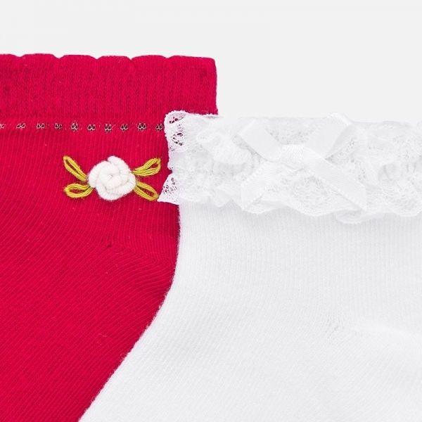 Infant Strawberry/White Frill & Flower 2 Pack Socks