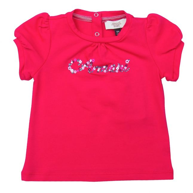 Baby Fuchsia Floral Logo Tee Shirt