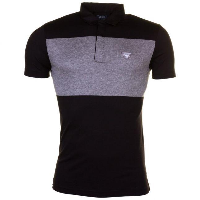 Mens Black Contrast Panel S/s Polo Shirt