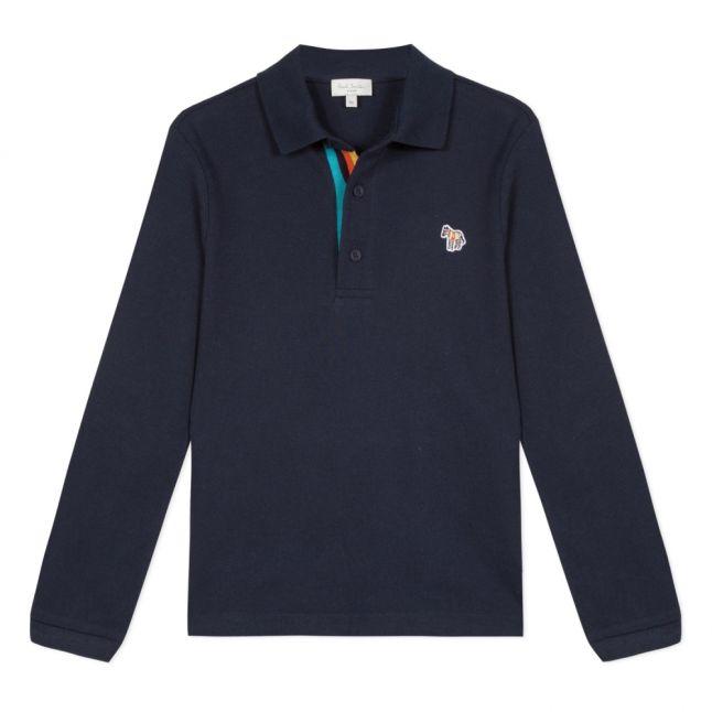Boys Navy Verino Zebra L/s Polo Shirt