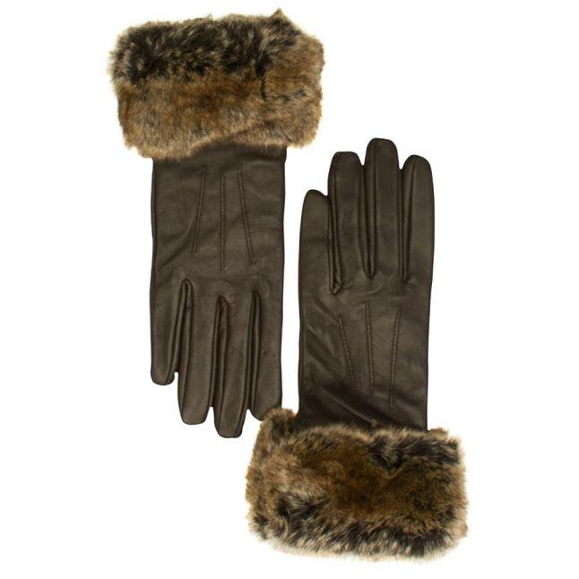 Womens Brown Fur Trim Leather Gloves
