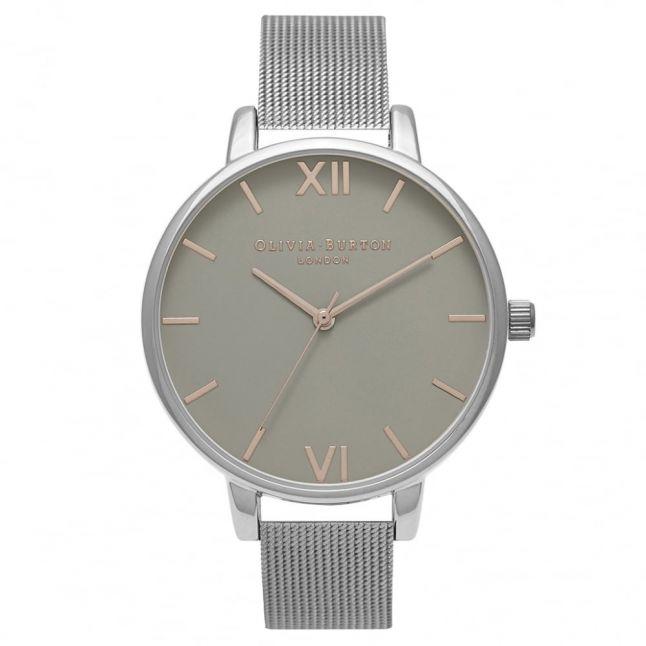 Womens Grey & Silver Big Dial Mesh Strap Watch