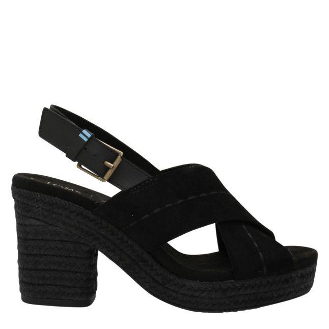 Womens Black Suede Ibiza Heeled Sandals