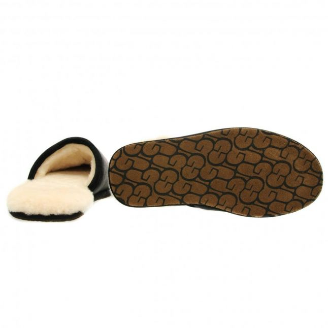 Mens Black Scuff Leather Slippers