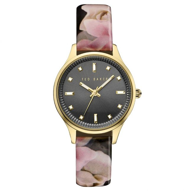 Womens Black & Porcelain Rose Pattern Strap Watch