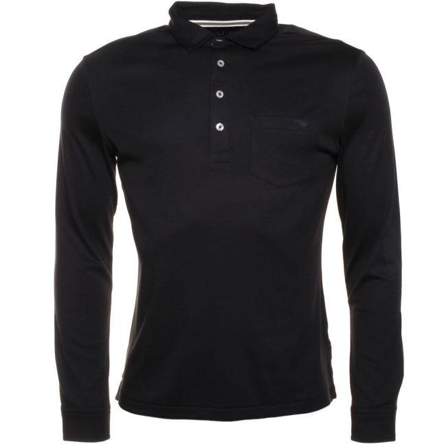 Mens Black Chest Pocket Slim Fit L/s Polo Shirt