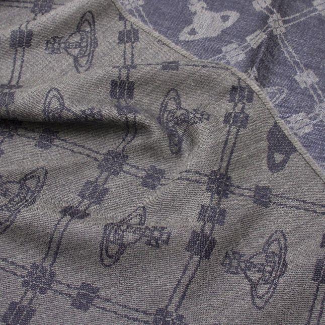 Womens Grey Up + Down Wool Scarf
