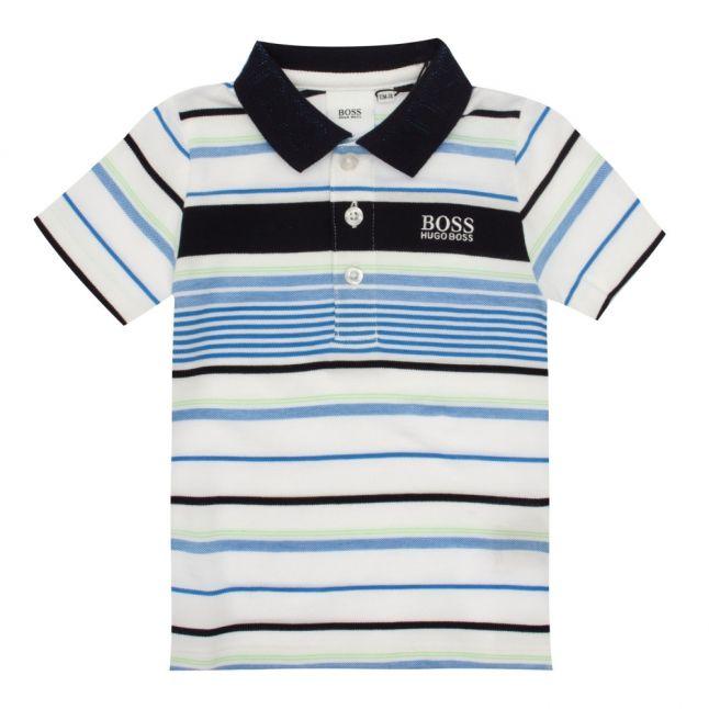 Toddler White/Blue Multi Stripe Logo S/s Polo Shirt