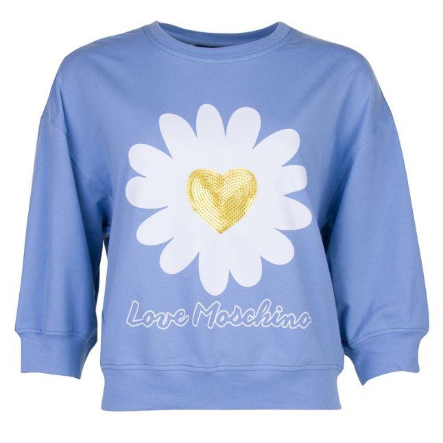 Love Mochino Womens Azure Daisy Sweat